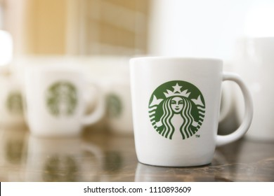 BANGKOK, THAILAND - May 29, 2018: Starbucks's coffee cup, Starbucks Corporation is an American coffee company and coffeehouse chain,founded in Seattle, Washington in 1971