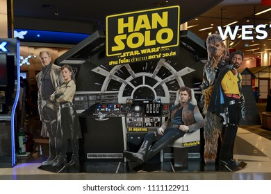 Bangkok, Thailand – May 29, 2018: Beautiful Standee of The Sci-Fi Movie Han Solo A Star Wars Story at the Theater.