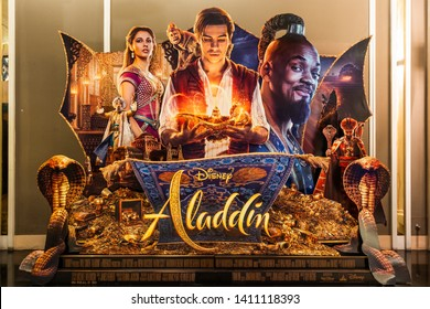 Bangkok, Thailand - May 29, 2019: Disney's Aladdin movie backdrop display in movie theatre. Cinema promotional advertisement, or film industry marketing concept