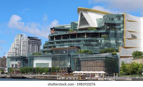 BANGKOK, THAILAND - MAY 29, 2021: View of luxury shopping-mall Iconsiam on the banks of the Chao Phraya riveron May 29, 2021 in Thai capital Bangkok