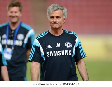 BANGKOK THAILAND MAY 29: Jose Mourinho manager of Chelsea in action during the pre-match training session at Rajamangala Stadium on May 29,2015 in Thailand.