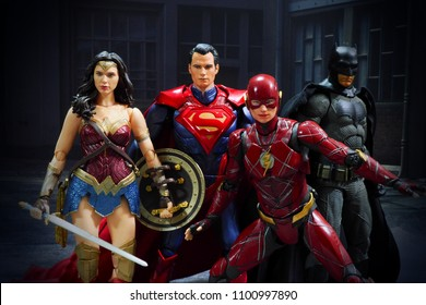 Bangkok, Thailand - May 29,2018 - Bandai, Japanese toy manufacturer, launch action figure series S.H.Figuarts based on famous DC Comic's character Justice League.