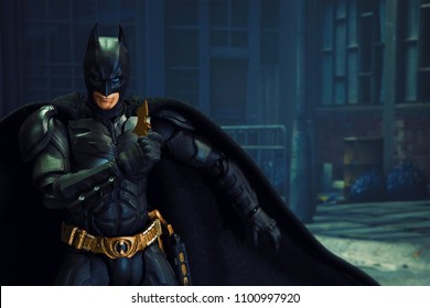 Bangkok, Thailand - May 29,2018 - Bandai, Japanese toy manufacturer, launch action figure series S.H.Figuarts based on famous DC Comic's character Batman.