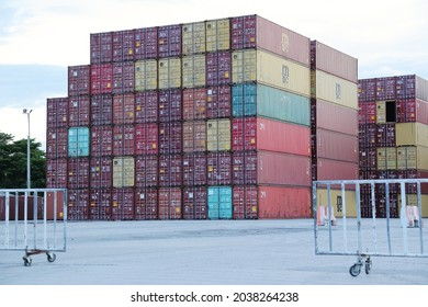 Bangkok, Thailand - May 29,2021: A shipping container is with strength suitable to withstand shipment storage and handling. Range from large reusable steel boxes used for intermodal shipments.