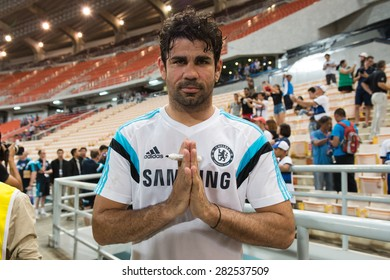 BANGKOK THAILAND MAY 29,Diego Costa of Chelsea FC  in action during a Chelsea FC training session at  Rajamangala Stadium on May 29,2015 in Bangkok Thailand