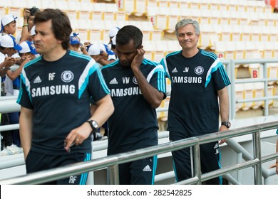 BANGKOK THAILAND MAY 29,Manager Jose Mourinho of Chelsea FC  in action to fans during a Chelsea FC training session at  Rajamangala Stadium on May 29,2015 in Bangkok Thailand