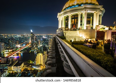 Bangkok, Thailand - May 3, 2017-  Lebua and Sirocco rooftop bar at State Tower in Silom district at night.