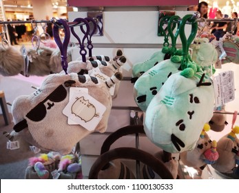 Bangkok, Thailand - May 3, 2018 : Pusheen cat is famous Facebook stickers and turned into merchandise product Pusheen the Cat plush and gifts and host Pusheen parties.