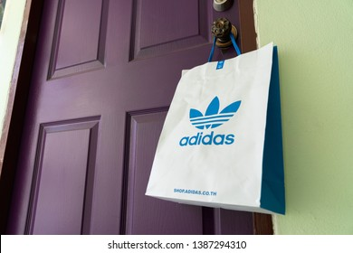 BANGKOK, THAILAND - MAY 3, 2019: Paper bag Adidas original logo for product Adidas original  . Adidas - German industrial group specializing in the production of athletic footwear, apparel.