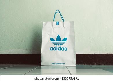 4e4f8b3d33 BANGKOK, THAILAND - MAY 3, 2019: Paper bag Adidas original logo for product