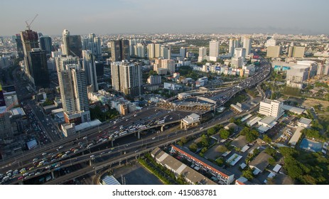 BANGKOK THAILAND - May 3: aerial view of express way and sky scraper  in heart of thailand capital on may 3,2016 in bangkok thailand