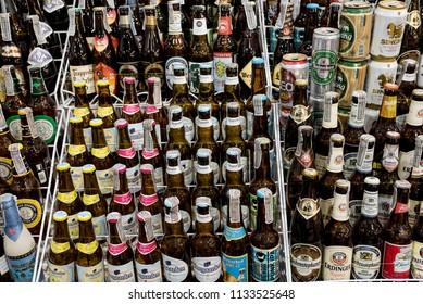 BANGKOK, THAILAND - MAY 30 2017 : Beer bottle On Supermarket Shelf, Yaowarat road, Bangkok, Thailand