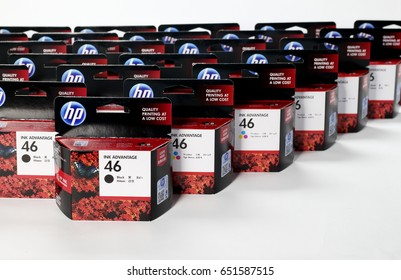 BANGKOK, THAILAND- May  30, 2017 :  Ink display at a local retail location in Thailand. HP Inkjet Printer Cartridges and Ink Supplies, HP 46 Black and Color, Ues for Printer HP  2020hc, 2520hc