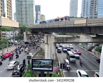 Bangkok ,Thailand - MAY 30, 2018 : BTS Sky train mass transit system in Bangkok. The main BTS line connects the stations around Bangkok. The Mass Transit System and Thai public transport rail network.