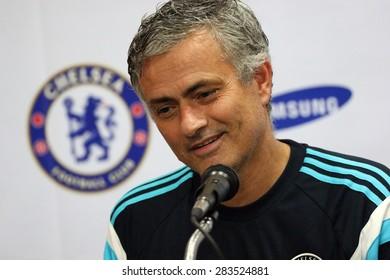 BANGKOK, THAILAND - MAY 30:Jose Mourinho manager of Chelsea media interviews after friendly match Chelsea VS Thailand All Star at Rajamangala Stadium on MAY 30, 2015 in Bangkok, Thailand.