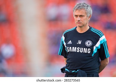 BANGKOK THAILAND MAY 30:Manager Jose Mourinho of Chelsea look on during the Singha Chelsea fc. Celebration match Thailand All-Stars and Chelsea FC at Rajamangala Stadium on May 30,2015 in Thailand.