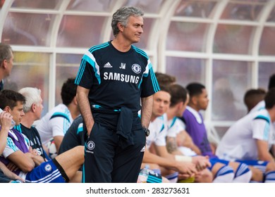 BANGKOK THAILAND MAY 30:Manager Jose Mourinho of Chelsea in action during the Singha Chelsea fc. Celebration match Thailand All-Stars and Chelsea FC at Rajamangala Stadium on May 30,2015 in Thailand.