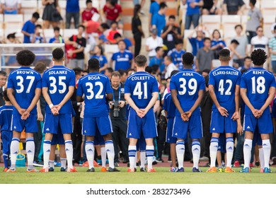 BANGKOK THAILAND MAY 30:Players of Chelsea poses during the Singha Chelsea fc. Celebration match Thailand All-Stars and Chelsea FC at Rajamangala Stadium on May 30,2015 in Thailand.