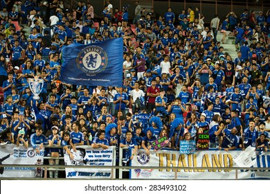 BANGKOK THAILAND MAY 30:Unidentified fan of Thailand supporters during the Singha Chelsea fc.Celebration match Thailand All-Stars and Chelsea FC at Rajamangala Stadium on May30,2015 in Thailand.
