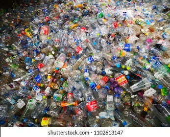 Bangkok, Thailand - May 31, 2018 : pet plastic bottles prepare for recycle
