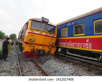 Bangkok Thailand May 31 2019 : Train Derailment near Bang Sue Station