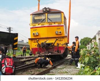 Bangkok Thailand May 31 2019 : Recovered train derailment near Bang Sue railway station