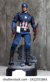 BANGKOK THAILAND - MAY 31 ,2019 : Close up shot of Captain America Civil War superheros figure in action fighting. Captain america appearing in American comic books by Marvel.