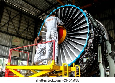BANGKOK, THAILAND - MAY 4, 2017 :: AERONAUTICAL ENGINEER ARE DOING MAINTENANCE AIRCRAFT ENGINE IN CIVIL AVIATION CENTER ENGINE OVERHAUL SHOP.
