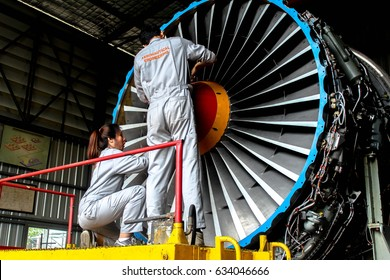 BANGKOK, THAILAND - MAY 4, 2017 - AERONAUTICAL ENGINEER ARE DOING MAINTENANCE AIRCRAFT ENGINE IN CIVIL AVIATION CENTER ENGINE OVERHAUL SHOP.