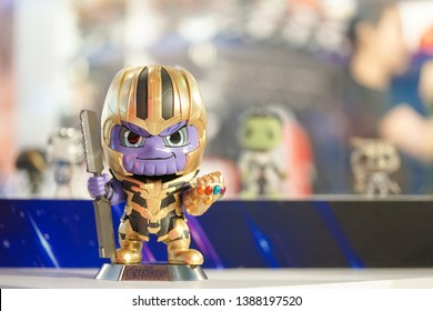 Bangkok, Thailand - May 4, 2019: A photo of Thanos action figure to promote the movie Avengers End Game in front of theatre. Avengers End Game is a marvel super hero movie break the box office record.