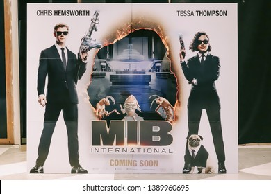 Bangkok, Thailand - May 4, 2019 - A Standee of An American science fiction action comedy Movie Men in Black: International (MIB: International or MIB 4) displays at the cinema