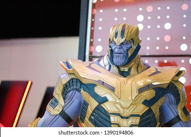 Bangkok, Thailand - May 4, 2019 :  A photo of Thanos in front of the theatre to promote the movie Avengers End Game, movie production by Marvel studio. Thanos is a very powerful super villain.