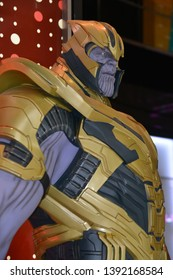 Bangkok, Thailand - May 4, 2019: The Statue of Thanos with The Mighty Glove Infinity Gauntlet from A Marvel Superhero Movie Avengers 4: Endgame Displays at the Theater