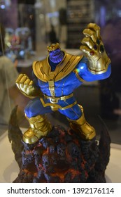 Bangkok, Thailand - May 4, 2019: Mini Model of Thanos with The Mighty Glove Infinity Gauntlet from A Marvel Superhero Movie Avengers 4: Endgame Displays at the Theater