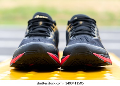Bangkok, Thailand - May 4, 2019 :ASICS Running Shoes GT-2000 7 shot outdoor, ASICS is a Japanese multinational corporation athletic equipment company which produces footwear and sports equipment.