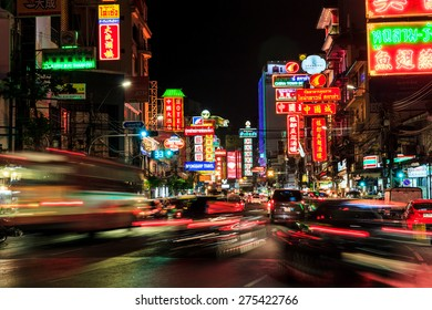BANGKOK THAILAND - MAY 4 : China Town  at night long exposure of car light on may 4 , 2015 in Bangkok Thailand