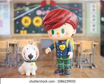 Bangkok, Thailand - May 5, 2018 : A closed up portrait of mini figure of high school student and a bull terrier dog, back to school concept. Jaime & Mimi Go To School by Yokooong. Editorial use only.