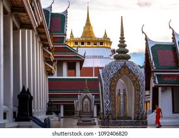 Bangkok, Thailand - May 5, 2018: Golden Mountain Temple or Wat Saket Bangkok. The mountain was construct since the King Rama III  and the Chedi was build in the King Rama IV region. Now, it is one of
