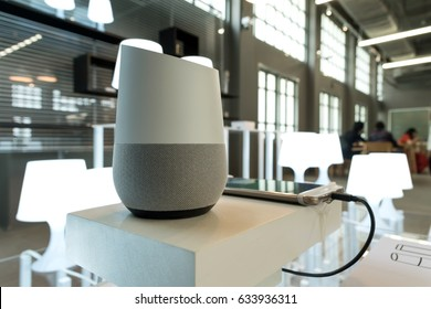 BANGKOK, THAILAND - May 5 : Selective focus on Google home, the voice recognition streaming device from Google to control lamps in TCDC Charoenkrung on May 5 2017 in BANGKOK, THAILAND