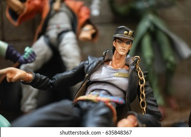 Bangkok, Thailand - May 6, 2017 : Group of characters from JoJo's Bizarre Adventure, a very famous Japanese manga series illustrates and written by Hirohiko Araki. Editorial Used only.