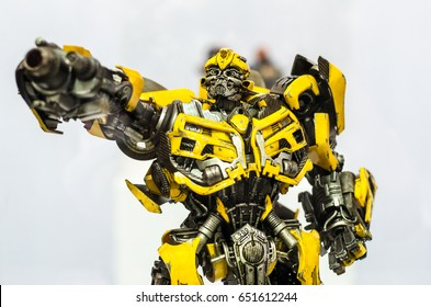 Bangkok, Thailand - May 6, 2017 :Bumblebee robot Transformer character of transfomer movie, is on a display shelf. . Editorial Used only.