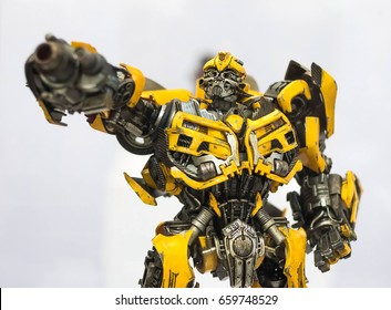 Bangkok, Thailand - May 6, 2017 : portrait shot of Transformers Bumblebee on display at Central World, Bangkok Thailand. Editorial Used Only.