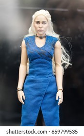 Bangkok, Thailand - May 6, 2017 : Character of Daenerys Targaryen toys model or mother of dragon in Game of Thrones series on display at Central World, Bangkok Thailand. Editorial Used Only.
