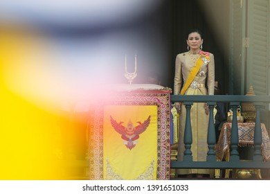 Bangkok, Thailand - May 6, 2019: Thailand's Queen Suthida is seen at the balcony of Suddhaisavarya Prasad Hall of the Grand Palace during a public audience.