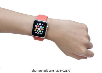 BANGKOK, THAILAND -MAY 7, 2015: close up image of the new apple watch sport on woman wrist on MAY 7, 2015 in Bangkok Thailand