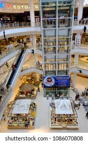 Bangkok, Thailand - MAY 7, 2018 : Interior view with Many people in at Central Plaza Bangkok. It is a shopping plaza and complex, owned by Central Pattana.