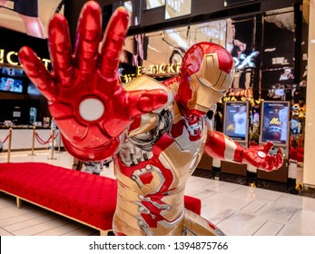 Bangkok, Thailand - May 7, 2019: Iron Man model show in Avengers Endgame exhibition booth at iconsiam, Iron Man is a fictional superhero in American comic books published by Marvel Comics.