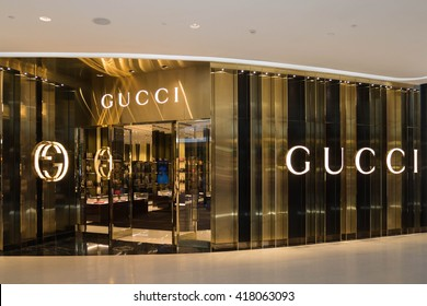 Bangkok, Thailand - May 8, 2016 : GUCCI store at Central Embassy luxury shopping mall in downtown Bangkok. GUCCI is one of many luxury brands fashion company.