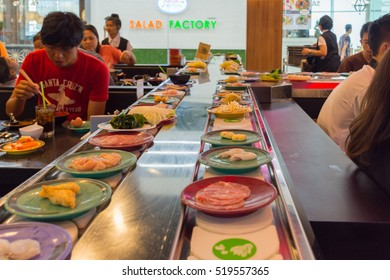Bangkok, Thailand - May 8, 2016 : Unidentified Japan restaurant sushi conveyor or belt buffet