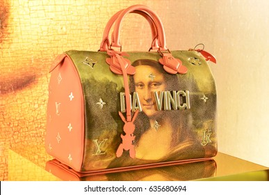 BANGKOK -THAILAND: May 8,2017: The new collection of Masters of Louis Vuitton inspired by the painting of Leonardo da Vinci by Artist Jeff Koons display at Siam Paragon shopping mall in Bangkok